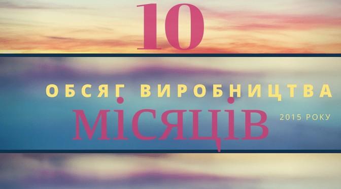 ОБСЯГ ВИРОБНИЦТВА ПО УКРАЇНІ ЗА 10 МІСЯЦІВ 2015 РОКУ