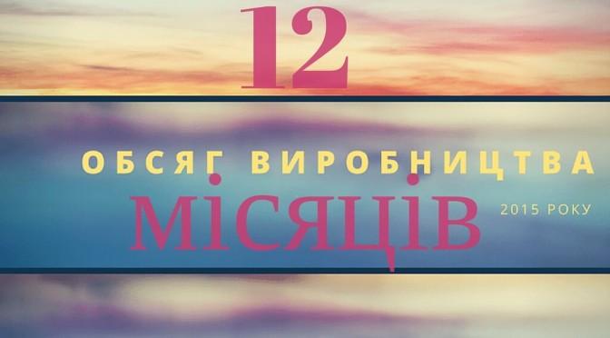 ОБСЯГ ВИРОБНИЦТВА ПО УКРАЇНІ ЗА 12 МІСЯЦІВ 2015 РОКУ