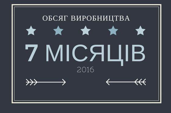 ОБСЯГ ВИРОБНИЦТВА, ЕКСПОРТ ТА ІМПОРТ ЗА 7 МІСЯЦІВ 2016