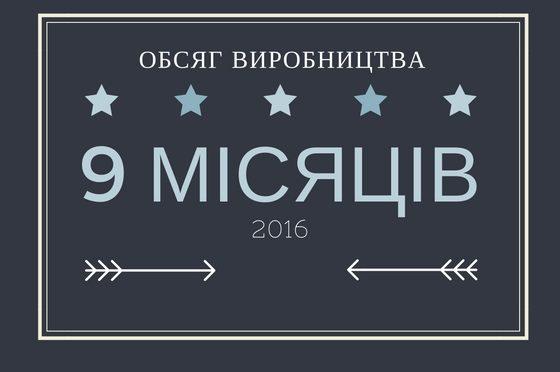 ОБСЯГ ВИРОБНИЦТВА ЗА 9 МІСЯЦІВ 2016