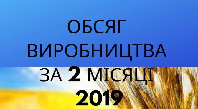 ОБСЯГ ВИРОБНИЦТВА ЗА 2 МІСЯЦІ 2019