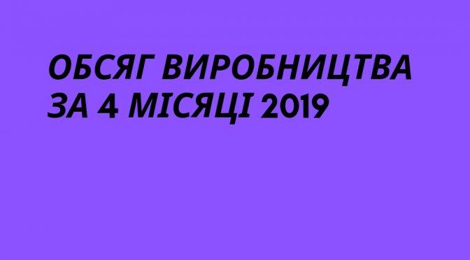 Обсяг виробництва за 4 місяці 2019