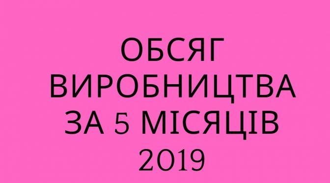 Обсяг виробництва за 5 місяців 2019