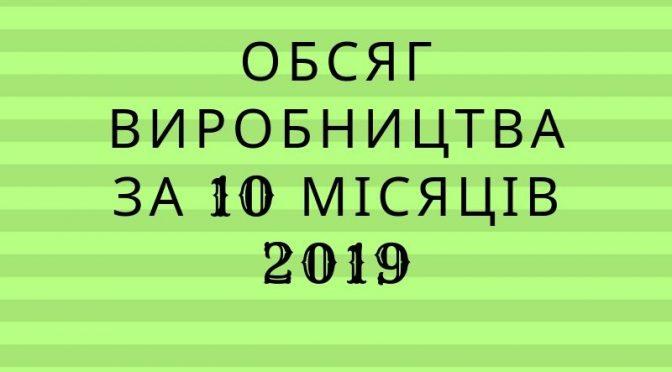 Обсяг виробництва за 10 місяців 2019