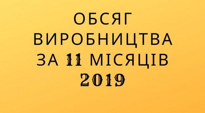 Обсяг виробництва за 11 місяців 2019