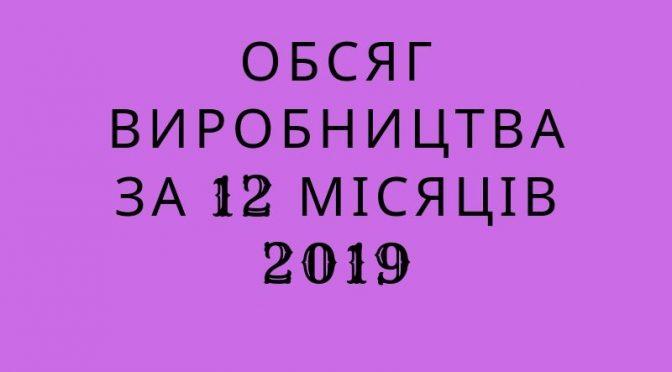 Обсяг виробництва за 12 місяців 2019