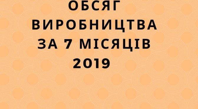 Обсяг виробництва за 7 місяців 2019