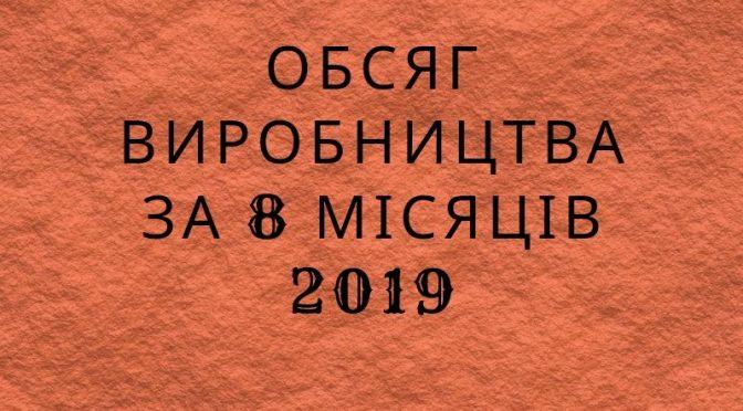 Обсяг виробництва за 8 місяців 2019