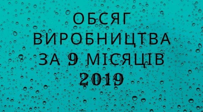 Обсяг виробництва за 9 місяців 2019