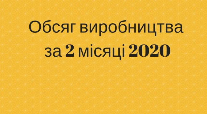 Обсяг виробництва за 2 місяці 2020