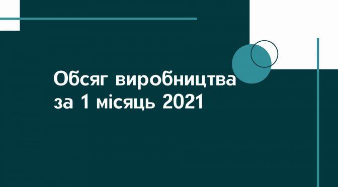Обсяг виробництва за 1 місяць 2021