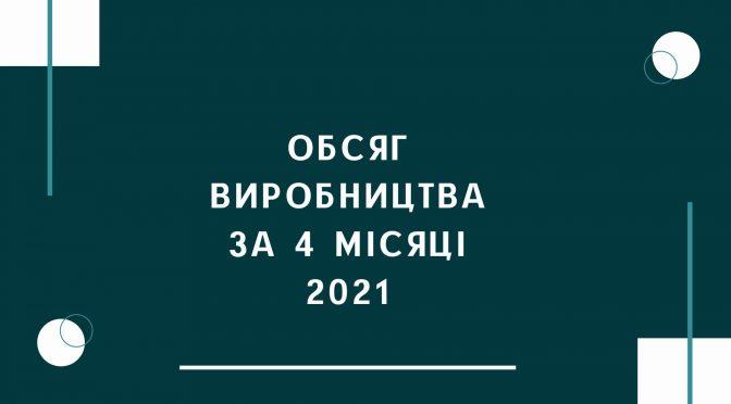 Обсяг виробництва за 4 місяці 2021